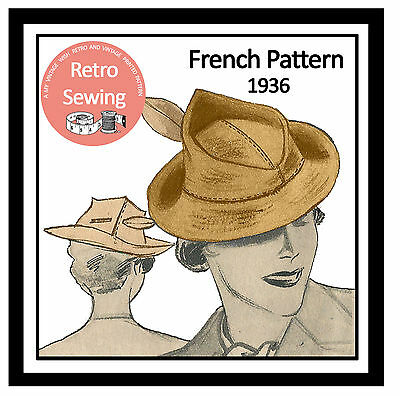 1930s Vintage French Sewing Pattern - ladies Hat  - Reproduction Pattern