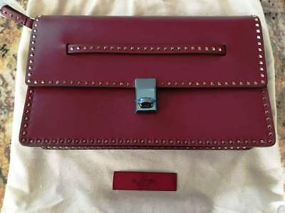 1c1e046e40d NEW Auth  1895 VALENTINO Micro Rockstud Clutch in Dark Red Holiday 17 ~SOLD  OUT