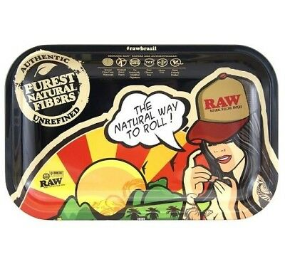 RAW Brazil Metal Smoking Cigarette Tobacco Rolling Tray Small 27cm x 17cm
