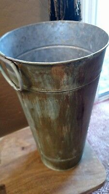 Vintage Style Large Galvanized Flower Bucket Hand Painted Aged