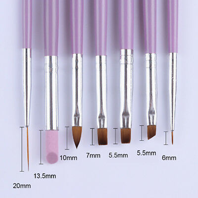 7Pcs/Set UV Gel Nail Art Brush Polish Painting Pen Brush For Salon Manicure DIY
