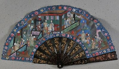 Antique Chinese Export Hand Painted Fan, c. 1800