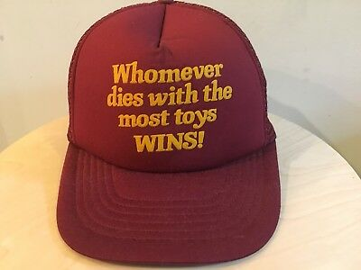"Vintage 80s Baseball Dad ""MOST TOYS WINS"" Logo Spell Out Trucker Hat Cap 90s 4e1f8cf4666d"
