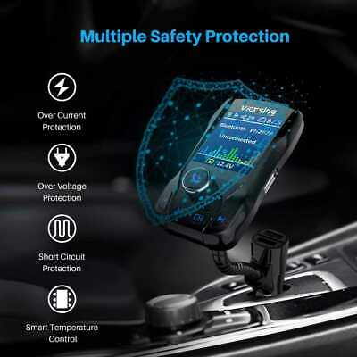"""VICTSING BLUETOOTH FM Transmitter for Car 1 8"""" Color Screen Hand-Free  Charger US"""