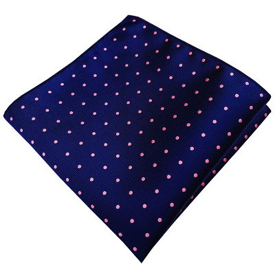Handmade Navy Blue with Pink Polka Dots Pocket Square For Men Wedding Gift