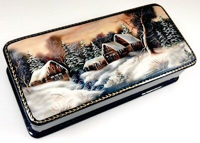 Winter - Russische Schatulle Russian lacquer box Lackdose Fedoskino