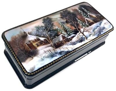 Winter Russische Lackdose Schatulle Russian lacquer box Fedoskino