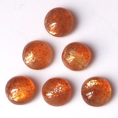 9 MM Round Natural Untreated African Fire Sunstone Cabs 6 Pieces Gemstone Lot