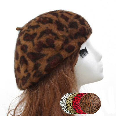 Womens French Style Vintage Leopard Print Wool Soft Winter Warm Beret Beanie Hat