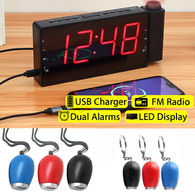 Digital Dual Projection Snooze Alarm Clock FM Radio Dimmer LED Projector USB