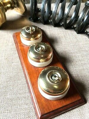 Vintage 3 Gang 2 way  Crabtree Brass & Porcelain Light Switches On Wood