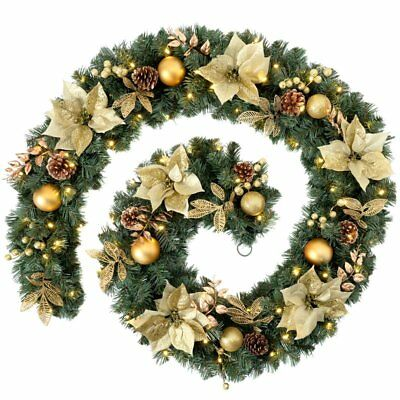 WeRChristmas Extra Thick Pre-Lit Decorated Garland with Warm White 80-LED Lights