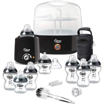 TOMMEE TIPPEE Sterilizer Essential Starter Kit with Extra Bottles & Brush -Black