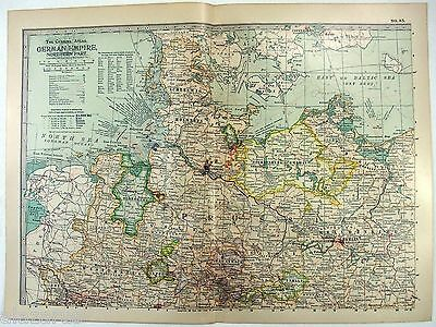 Original 1902 Map of The Northern Part of The German Empire by The Century Co.