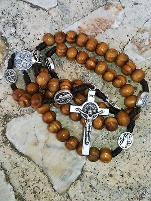Wooden Beads St Benedict Rosary / Medjugorje Handmade San Benito Rosary Necklace