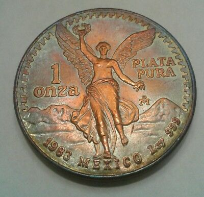 1983 - Mexican Libertad 1oz Silver Coin With Beautiful Toning, Toned . .