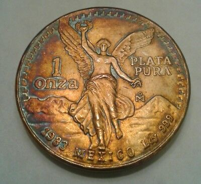 1983   Mexican Libertad 1oz Silver Coin With Beautiful Toning, * Toned *