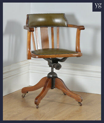 Antique English Edwardian Oak & Green Leather Revolving Office Desk Arm Chair