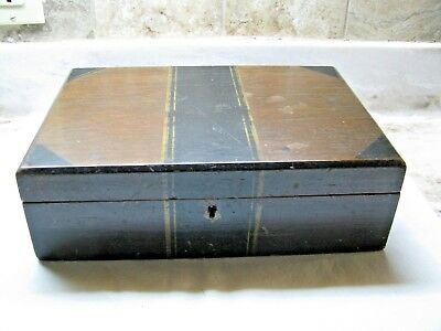 Antique Wooden Sewing Box - Has Tray With Pin Cushion & Thimble Rest