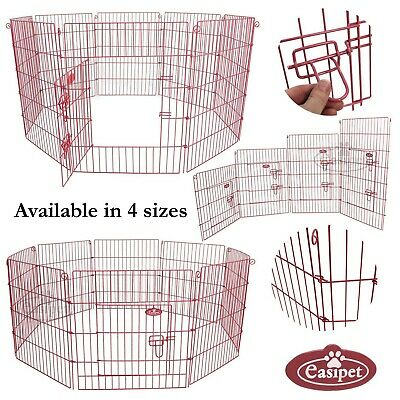 Pink Pet Dog Pen Puppy Rabbit Cat Foldable Metal Playpen Enclosure Run Cage