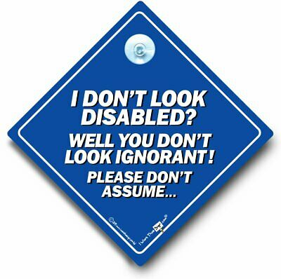 I Don't Look Disabled? You Don't Look Ignorant Car Sign, Suction Cup Sign