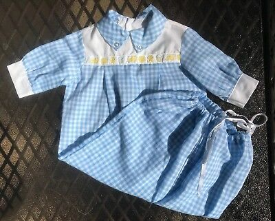 Fawn Togs Vintage Infant 0-3 mo. Boys Draw String Sack Gown Blue Gingham  Dressy