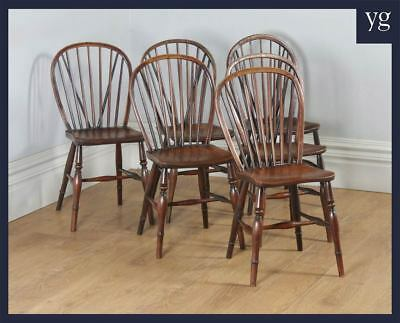 Antique Six English Victorian Ash & Elm Stick & Hoop Back Kitchen Country Chairs