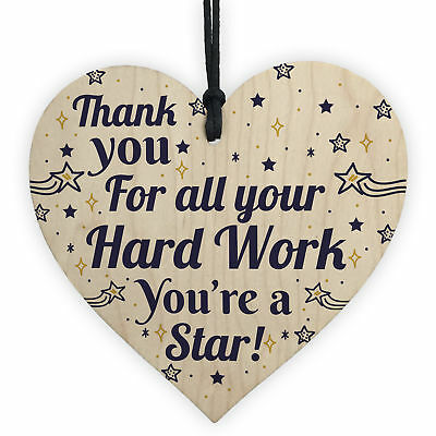 Colleague THANK YOU Gifts Wooden Heart Plaque Employee Teacher Volunteer Gifts