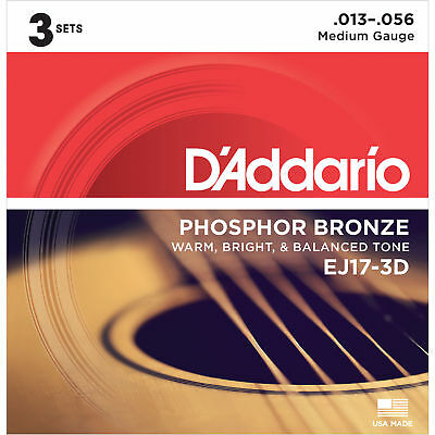 D'addario Ej17-3D Phosphor Bronze Acoustic Guitar Strings - 3 Pack, Medium Gauge