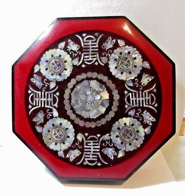 Inlaid Mother Of Pearl Lacquered Oriental Box Sectioned Serving Dish Beautiful