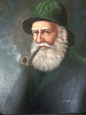 Vintage David Pelbam Oil Painting Old Fisherman By The Sea Framed