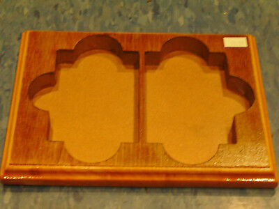 2 Decks Card Tray Wood Game Holder Poker Bridge Pinochle Nice!