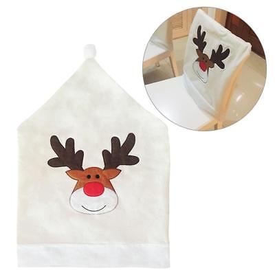 Xmas Elk Embroidery Chair Back Cover White Christmas Party Dinner Table Decor