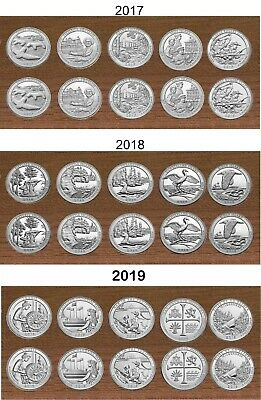 2017 & 2018 National Park Quarters  P& D Yearly Uncirculated coin sets 20 Coins