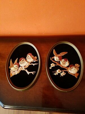 1970s Pair of Oval Frame Sparrows On Branch Embroidered On Black Velvet Ecstacy