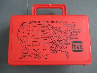 Vintage Burger King Plastic Red Lunch Box With Map Of The Usa On Front