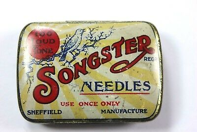 Antique SONGSTER 100 Loud Tone Record Needles TIN Made in England