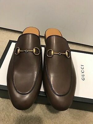 9c3558b991c GUCCI Princetown Brown Leather Horsebit Mules Flats Size 8.5 38.5 NWB Ladies