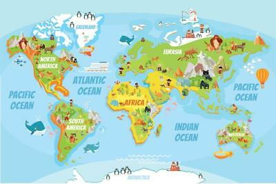 Educational Kids Global World Map Cartoon Animals Poster 24x36 inch
