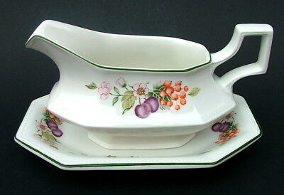 Johnson Brothers Fresh Fruit Pattern Gravy / Sauce Boat & Stand - Looks in VGC