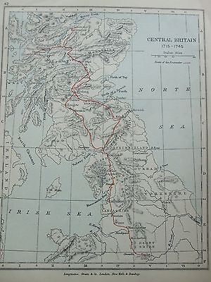 Antique Print Map Dated 1905 Central Britain In 1715 - 1745 Map World Atlas Art