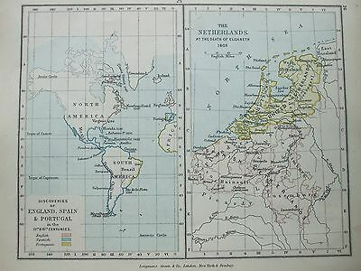 Antique Print Map Dated 1905 England Spain Portugal Netherlands 1603 Colour Map