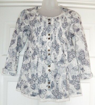 Bnwt Girls Next Boho Butterfly Blouse Top 6 Yrs 5-6 New Winter Holiday Blue Tee