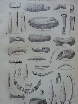 Antique Print Dated 1880 Archeology Engraving Remains Of The Stone Period Art