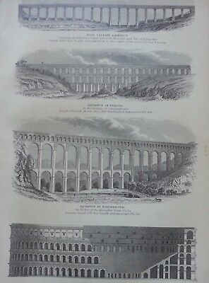 Antique Print Dated 1880 Amphitheatre Aqueduct Engraving Coliseum At Rome Art