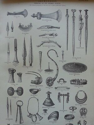 Antique Print Dated 1880 Archeology Engraving Remains Of The Bronze Period Art