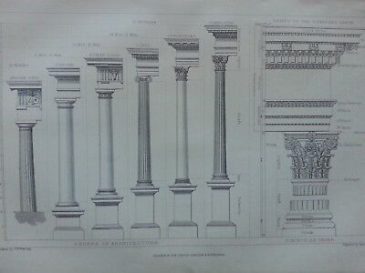 Antique Print Dated 1880 Architecture Engraving Rome Pillars Doric Tuscan Art