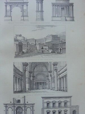 Antique Print Dated 1880 Architecture Engraving Restoration Of The Forum Rome