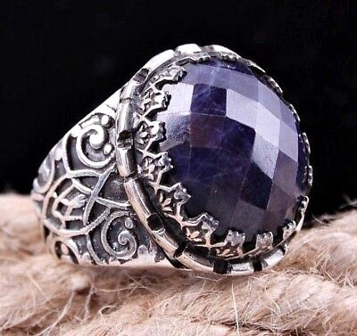 Turkish  925 Sterling Silver NATURAL SAPPHİRE Blue stone Mens ring ALL SİZE usa