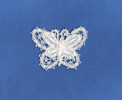 """HANDMADE Needle Lace Layered Butterfly Heirloom/ Normandy White Vintage 2 1/2 """""""